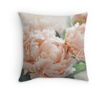 Peach Peonies Throw Pillow