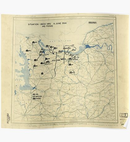 June 6 1944 D-Day World War II Twelfth Army Group Situation Map Poster