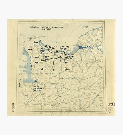 June 6 1944 D-Day World War II Twelfth Army Group Situation Map Photographic Print