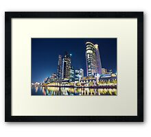 Melbourne South Wharf at night Framed Print