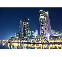 Melbourne South Wharf at night Photographic Print
