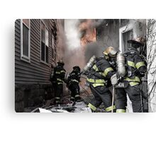 Firefighters In The Line Of Duty Canvas Print