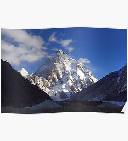 Early Morning Sun on K2, Concordia, Karakorum Poster
