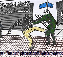 Athens riots against austerity - binary options cartoon by Binary-Options