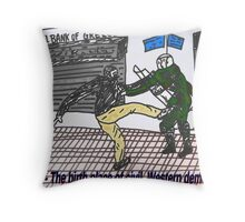 Athens riots against austerity - binary options cartoon Throw Pillow