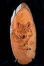 Pyrography of a Wolf by aussiebushstick