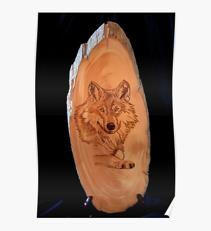 Pyrography of a Wolf Poster