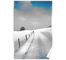 snowy road under a blue sky Poster