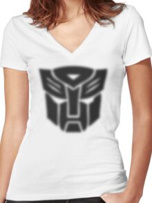 Halftone Autobot Symbol, Black Women's Fitted V-Neck T-Shirt