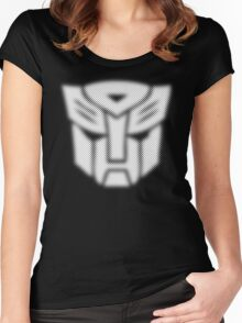 Halftone Autobot Symbol, White Women's Fitted Scoop T-Shirt