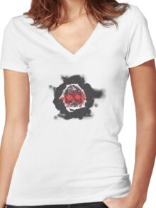 Death's-head red Women's Fitted V-Neck T-Shirt