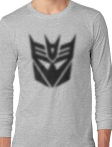 Halftone Decepticon Symbol, Black Long Sleeve T-Shirt