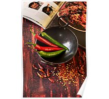 Preparing Fresh Chillies Beside Indian Cook Book Poster