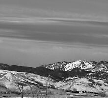 Full Moon on the CO Front Range BW by Bo Insogna