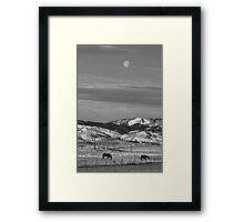 Full Moon on the CO Front Range BW Framed Print