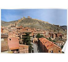 Rooftops and fortifications, Albarracin, Aragon, Spain Poster