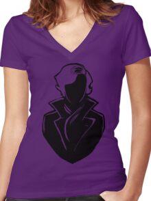 Sherlock Silhouette (Black) Women's Fitted V-Neck T-Shirt