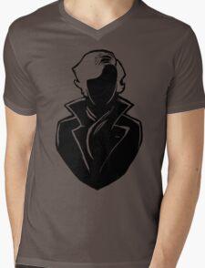 Sherlock Silhouette (Black) Mens V-Neck T-Shirt