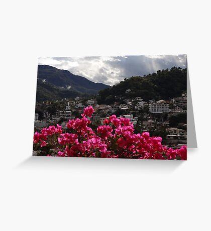 Sierra Madre With Bougainvillea - Sierra Madre Con Buganvilla Greeting Card
