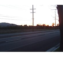 Telephone Wires At Sunset Photographic Print