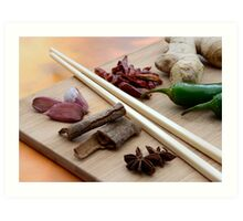 Chinese Thai Cookery Ingredients and Chop Sticks Art Print
