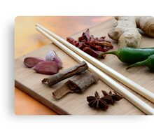 Chinese Thai Cookery Ingredients and Chop Sticks Canvas Print