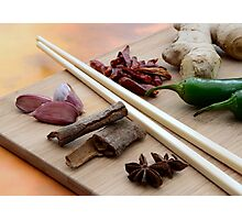 Chinese Thai Cookery Ingredients and Chop Sticks Photographic Print