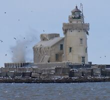 Tight shot of the Cleveland lighthouse in a coating of ice by Henry Plumley
