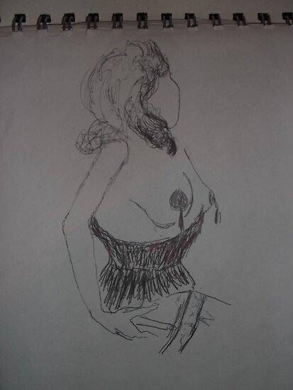 Life drawing(1 of 6) -(080212)- black biro pen/digital photo by paulramnora