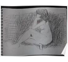 Life drawing(3 of 6) -(080212)- black biro pen/digital photo Poster
