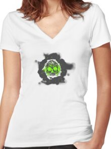 Death's-head green Women's Fitted V-Neck T-Shirt