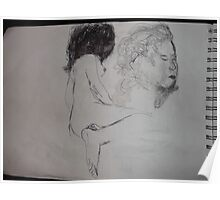 Life drawing(5 of 6) -(080212)- black biro pen/digital photo Poster
