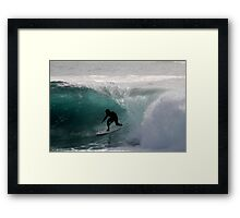 Surfer getting Barrelled at Dee Why Point 2 Framed Print