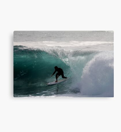 Surfer getting Barrelled at Dee Why Point 2 Canvas Print