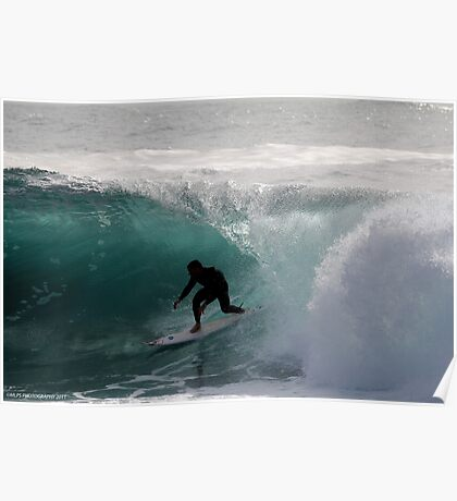 Surfer getting Barrelled at Dee Why Point 2 Poster