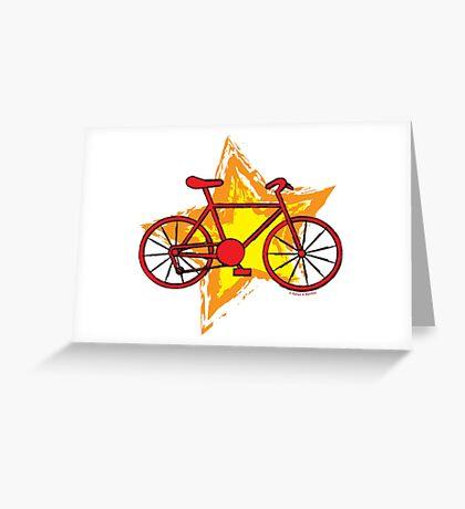Red Bike Star Greeting Card