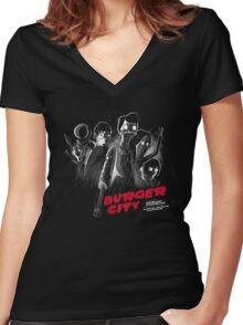 Burger City Women's Fitted V-Neck T-Shirt