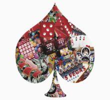 Spade Playing Card Shape - Las Vegas Icons   One Piece - Short Sleeve