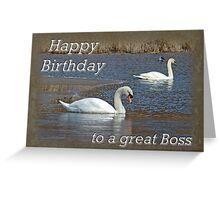 Boss Birthday Card - Mute Swans on Winter Pond Greeting Card