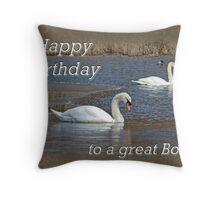 Boss Birthday Card - Mute Swans on Winter Pond Throw Pillow