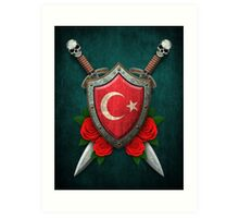 Turkish Flag on a Worn Shield and Crossed Swords Art Print
