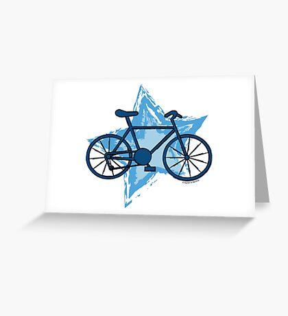 Blue Bike Star Greeting Card