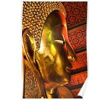 Portrait: The Reclining Buddha, Wat Pho, Bangkok, Thailand Poster