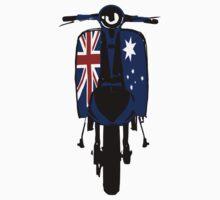 Retro look scooter Australian flag decals Kids Tee