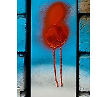 Urban abstract-Red Dribble Photographic Print