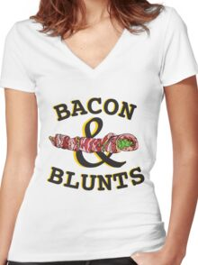 Bacon & Blunts  Women's Fitted V-Neck T-Shirt