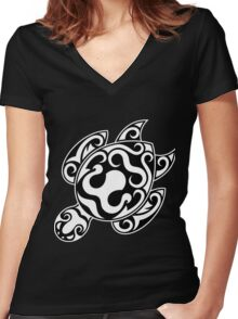 Tribal turtle design Women's Fitted V-Neck T-Shirt