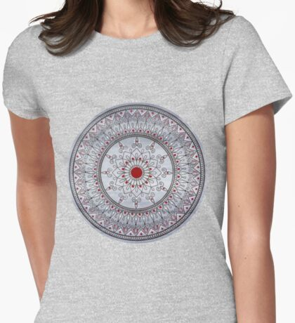 Hand Drawn Pretty Grey And Red Mandala Womens Fitted T-Shirt