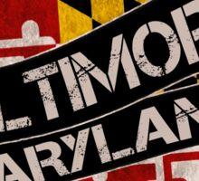 Baltimore Maryland grunge flag scroll Sticker