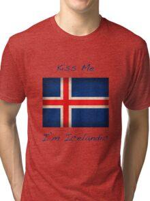 Kiss Me I'm Icelandic Tri-blend T-Shirt